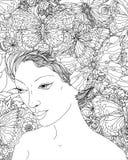 Pretty elegant comics girl vector illustration