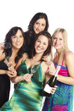 Pretty elegant girls with glasses and champagne Stock Images