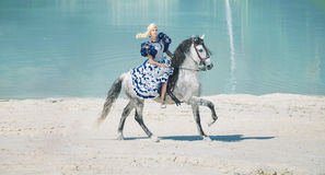 Pretty elegant lady on the horse Stock Photo
