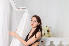 Pretty elegant musician playing the harp Royalty Free Stock Photography