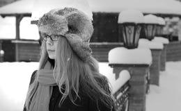 Pretty elegant woman long hair look in winter Stock Images