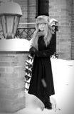 Pretty elegant woman in winter with snow Stock Photo