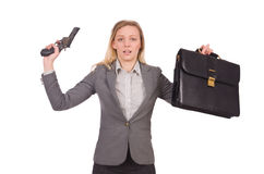 Pretty employee with handgun isolated on white Royalty Free Stock Image