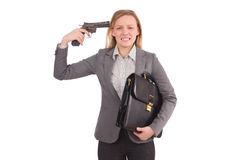Pretty employee with handgun isolated on white Stock Image