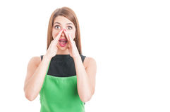Pretty employee yelling out loud. Or raising her voice isolated on white background with copy space Royalty Free Stock Photos