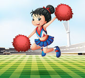 A pretty and energetic cheerdancer. Illustration of a pretty and energetic cheerdancer Stock Image