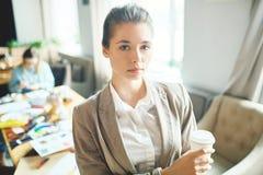 Pretty Entrepreneur at Open Plan Office Royalty Free Stock Photo