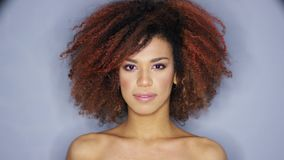 Pretty ethnic woman touching hair. Headshot of young attractive ethnic woman touching curly hair and looking at camera while posing in studio stock footage