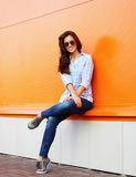 Pretty european modern woman in sunglasses outdoors royalty free stock photo