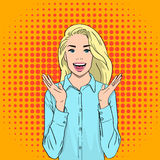 Pretty Excited Surprised Blonde Woman Happy Smile Pop Art Colorful Retro Style Stock Image