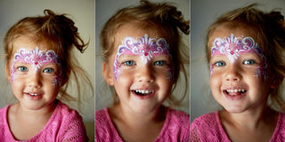 Pretty exciting blue-eyed girl of 2 years with a face painting. Collage. Pretty exciting blue-eyed girl of 2 years with a pink face painting royalty free stock image