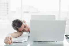 Pretty exhausted businesswoman sitting at her desk sleeping Royalty Free Stock Image