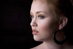 Pretty face. Young redhead very beautiful face clean skin Stock Image