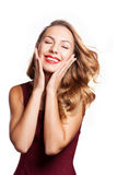 Pretty face of beautiful smiling woman Royalty Free Stock Photos