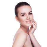 Pretty face of beautiful smiling woman Stock Image