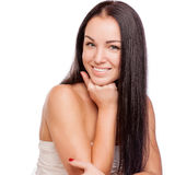 Pretty face of beautiful smiling woman - posing at studio isolat Royalty Free Stock Photos