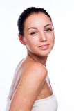 Pretty face of beautiful smiling woman - posing at studio isolat Royalty Free Stock Photography