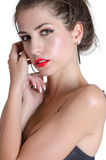 Pretty face with red lips Royalty Free Stock Photos