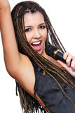 Pretty face of singer girl. Portrait of pretty singer girl with bright expression of face Royalty Free Stock Photos