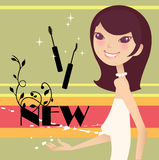 Pretty facial girl. Pretty girl with new mascara vector illustration
