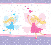 Pretty fairies. Pretty floating fairies pink and blue Royalty Free Stock Image