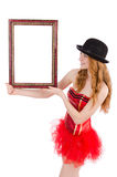 Pretty fairy with picture frame isolated Royalty Free Stock Image