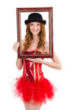 Pretty fairy with picture frame isolated Royalty Free Stock Photos
