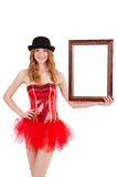 Pretty fairy with picture frame isolated Royalty Free Stock Photography