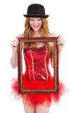 Pretty fairy with picture frame isolated Stock Image