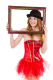 Pretty fairy with picture frame isolated Royalty Free Stock Photo