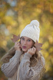 Pretty fall or autumn teen girl Stock Images