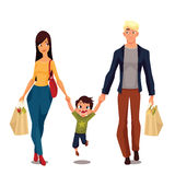 Pretty family with packages from shop Royalty Free Stock Photo