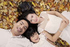 Pretty family relaxing on autumn leaves Stock Image