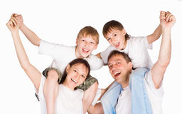 Pretty family on white Stock Image