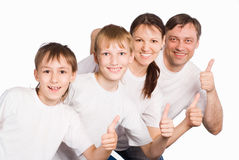 Pretty family on white Stock Photos