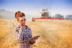 Pretty farmer girl keeps a crop accounting on the tablet. Pretty farmer girl holds tablet and looks over her glasses in wheat field while combine harvester Royalty Free Stock Images