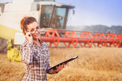 Pretty farmer girl looks over her glasses. Pretty farmer girl with hair tied in a ponytail looks over her glasses, holding a tablet and smiling in wheat field Stock Images