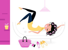 Pretty fashion female relaxing in her room. Female relaxing in retro interior. Vector illustration Royalty Free Stock Photos