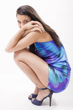 Pretty fashion girl. Attractive young girl posing in a fashion shooting Royalty Free Stock Images