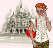 Pretty fashion girl on a Basilique Du Sacre Coeur  Stock Image