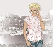 Pretty fashion girl on a city background. Vector illustration of Pretty fashion girl on a city background stock illustration