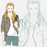 Pretty fashion girl in jacket. Vector illustration Royalty Free Stock Photography