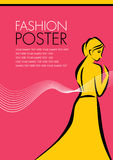 A pretty fashion girl in sketch style. Poster Design Royalty Free Stock Photography