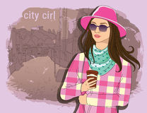 Pretty fashion girl in sketch style on a street town background. Vector illustrator. hand draw, hipster design Royalty Free Stock Photos
