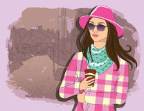Pretty fashion girl in sketch style on a street town background. Vector illustrator. hand draw, hipster design Royalty Free Stock Image