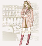Pretty fashion girl in sketch style Stock Images