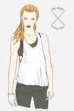 Pretty fashion girl. Vector illustration Stock Photos