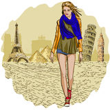 Pretty Fashion woman on Travel and tourism background Stock Photo