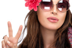Pretty Fashionable Woman Showing Peace Hand Sign Stock Image
