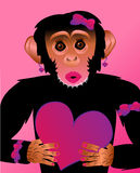 Pretty Fashionista Chimp with Heart. Cute fashionista chimp holding a heart Royalty Free Stock Images